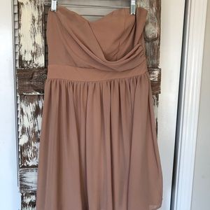 Tan strapless dress